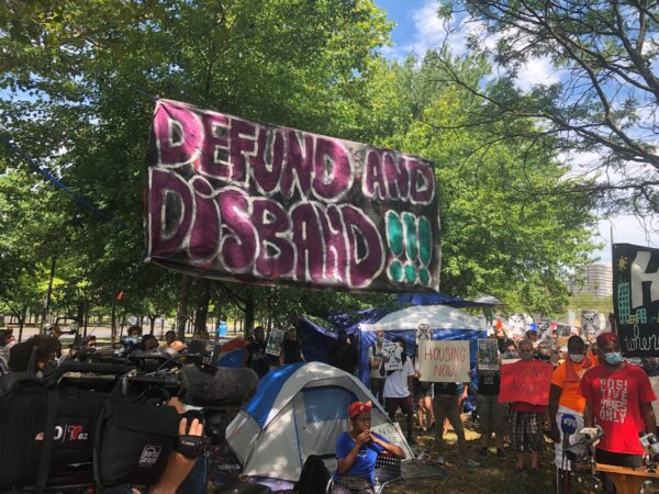 Homeless encampment on the Ben Franklin Parkway