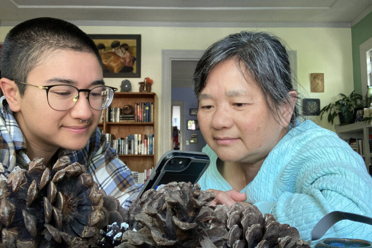 Reporter Isis Piccillo and their mom, Anna Yeung, using a language app to learn Arabic while sheltering in place at their home in Northern California. (Isis Piccillo/For WHYY)