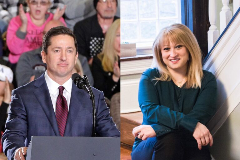 Republican candidates for U.S. Congress in New Jersey's 3rd Congressional District David Richter and Kate Gibbs. (Richter, WHYY file photo/Gibbs, provided by the candidate)