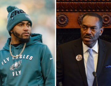 Left: Eagles player DeSean Jackson; Right: Philadelphia NAACP President Rodney Muhammad (Michael Perez/AP Photo; Tom MacDonald/WHYY)