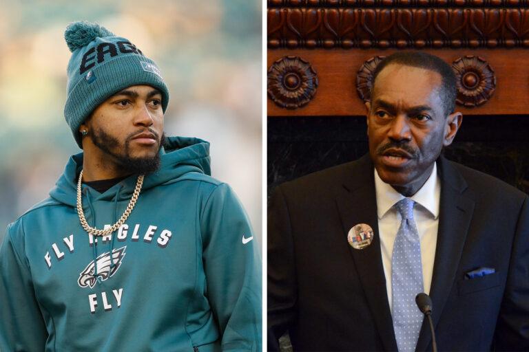 Left: Eagles player DeSean Jackson; Right: Philadelphia NAACP President Rodney Muhammad (Michael Perez/AP Photo; Tom MacDonald/WHYY)