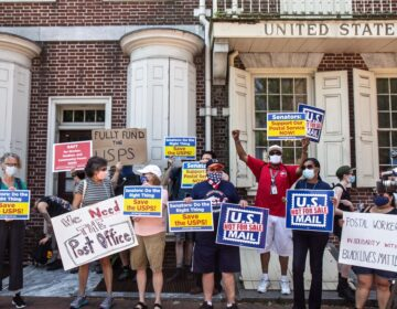 Members of the American Postal Workers union local 89 protest in Old City on June 22, 2020, demanding the postal service be fully funded. (Kimberly Paynter/WHYY)