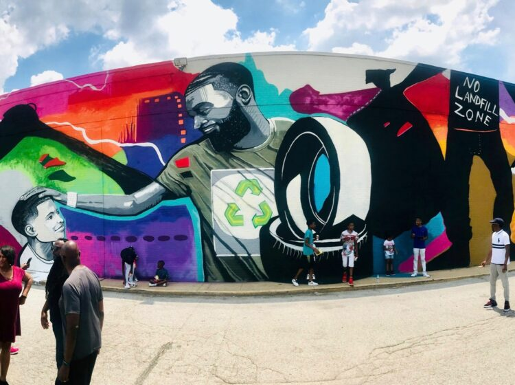 Mural Arts Institute worked with Memphis-based artist Jamond Bullock to make a large-scale mural promoting litter cleanup in Frayser, the neighborhood he grew up in. (Mural Arts Institute)