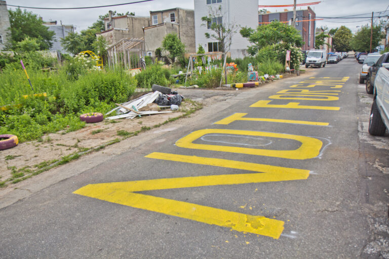 """At the César Andreu Iglesias CommunityGarden in Kensington, the words """"Not for sale"""" were painted on the street as a message to developers and the city in June. (Kimberly Paynter/WHYY)"""