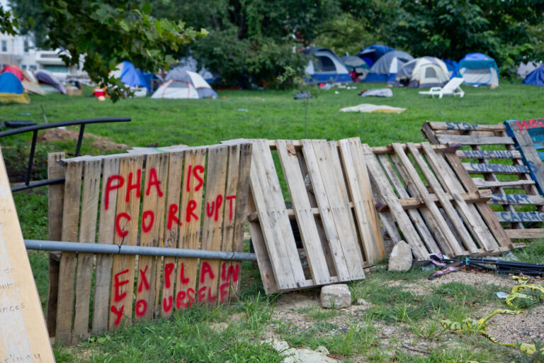 A homeless encampment at 21st and Ridge Avenue