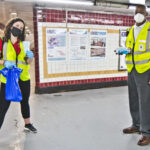 Jessica Mangold (left) and Leon Vaughn (right) are SEPTA social distancing coaches who hand out masks and encourage riders to stay safe during the pandemic. (Kimberly Paynter/WHYY)