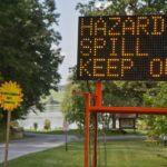 A sign warns visitors,