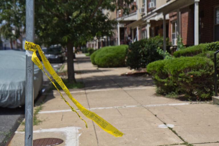 Remnants of crime scene tape