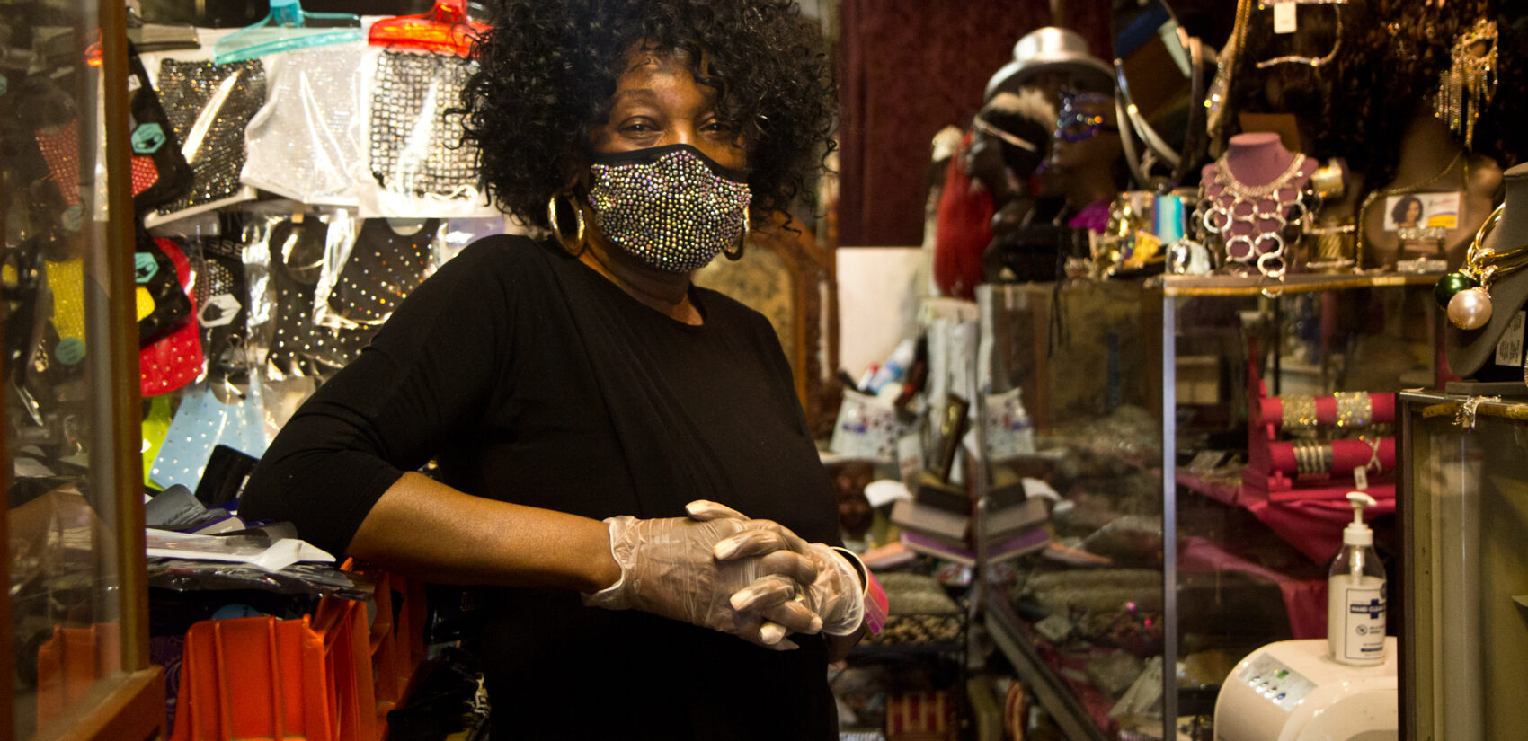 Gwendolyn Hosey is the owner of Struttin' Lightly, an accessory store on 52nd Street in West Philadelphia. (Kimberly Paynter/WHYY)