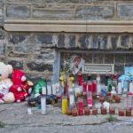 A memorial to Zamar Jones on Simpson Street