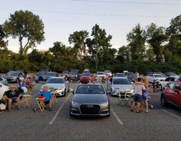 People's Light and Theatre turned its rear parking lot into a live entertainment drive-in venue. (Peter Crimmins/WHYY)
