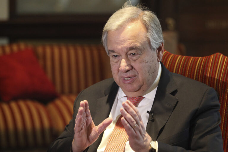 FILE - In this Feb. 18, 2020, file photo, U.N. Secretary-General Antonio Guterres speaks during an interview with The Associated Press in Lahore, Pakistan. Guterres expressed hope Tuesday, June 23, 2020 that Israel will hear global calls and will not go ahead with annexation of parts of the West Bank, which would undermine a two-state solution to the decades-old Israeli-Palestinian conflict. (AP Photo/K.M. Chaudhry, File)
