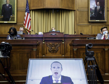 Facebook CEO Mark Zuckerberg speaks via video conference during an Antitrust, Commercial and Administrative Law Subcommittee hearing, on Capitol Hill, in Washington, Wednesday, July 29, 2020, on