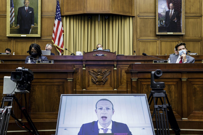 Facebook CEO Mark Zuckerberg speaks via video conference during a House Judiciary subcommittee hearing on antitrust on Capitol Hil