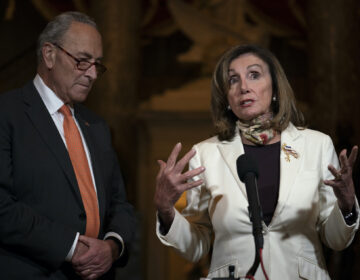 House Speaker Nancy Pelosi of Calif., and Senate Minority Leader Sen. Chuck Schumer of N.Y. speak to media on Capitol Hill in Washington, Thursday, Aug. 6, 2020. (AP Photo/Carolyn Kaster)