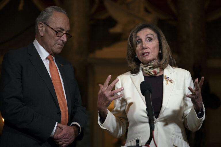 House Speaker Nancy Pelosi of Calif., and Senate Minority Leader Sen. Chuck Schumer of N.Y. speak to media on Capitol Hill in Washington, Thursday, Aug. 6, 2020. (AP Photo/Carolyn Kaster)