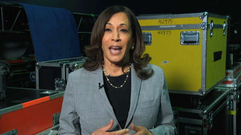In this image from video, Democratic vice presidential candidate Sen. Kamala Harris, D-Calif., speaks about voting during the third night of the Democratic National Convention on Wednesday, Aug. 19, 2020. (Democratic National Convention via AP)