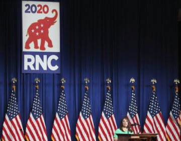 RNC Chairwoman Ronna Romney McDaniel speaks to delegates in the Charlotte Convention Center's Richardson Ballroom in Charlotte, NC on Monday, August 24.  The delegates have gathered for the roll call vote to renominate Donald J. Trump to be President of the United States and Mike Pence to be Vice President.  (Travis Dove for The New York Times)