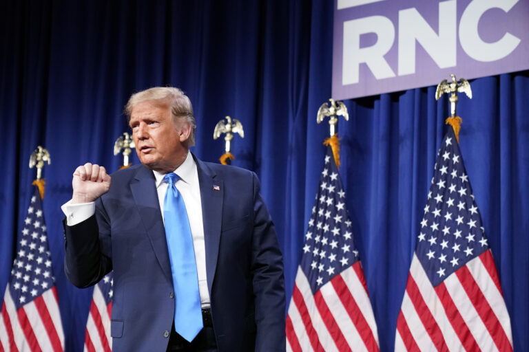 President Donald Trump pumps his fist after speaking at the 2020 Republican National Convention in Charlotte, N.C., Monday, Aug. 24, 2020. (AP Photo/Andrew Harnik)