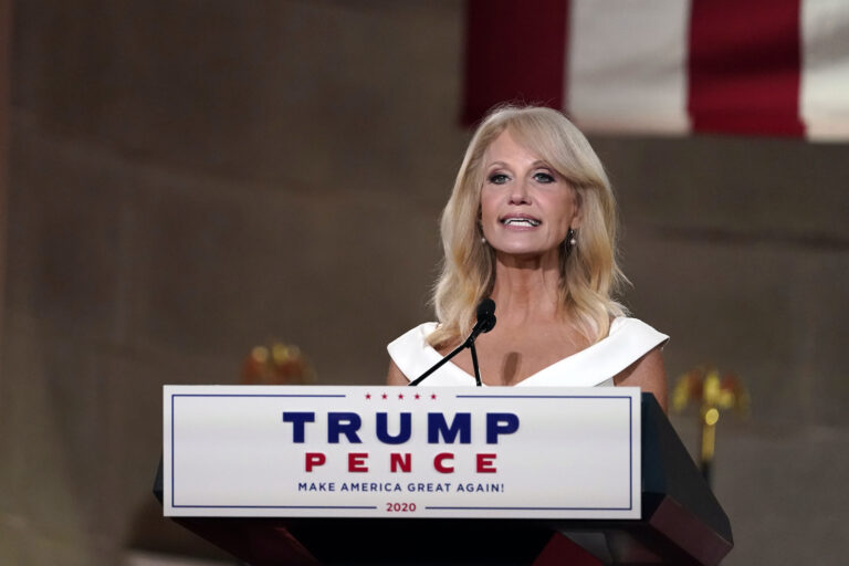 White House counselor Kellyanne Conway tapes her speech for the third day of the Republican National Convention from the Andrew W. Mellon Auditorium in Washington, Wednesday, Aug. 26, 2020. (AP Photo/Susan Walsh)