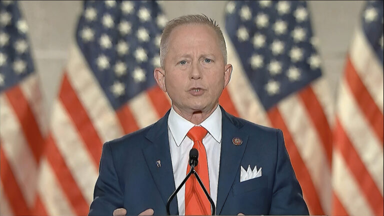 In this image from video, Rep. Jeff Van Drew, R-N.J., speaks from Washington, during the fourth night of the Republican National Convention on Thursday, Aug. 27, 2020. (Courtesy of the Committee on Arrangements for the 2020 Republican National Committee via AP)