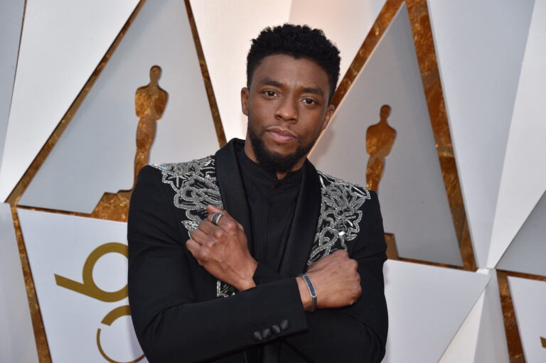 File photo dated March 4, 2018 of Chadwick Boseman arriving for the 90th annual Academy Awards (Oscars) held at the Dolby Theatre in Los Angeles, CA. (Photo by Lionel Hahn/Abaca/Sipa USA via AP Images)