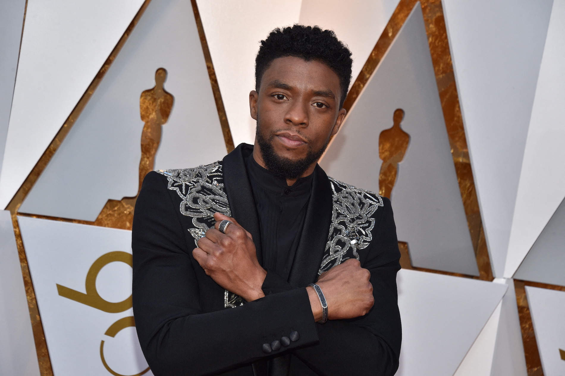 Chadwick Boseman arriving for the 90th annual Academy Awards