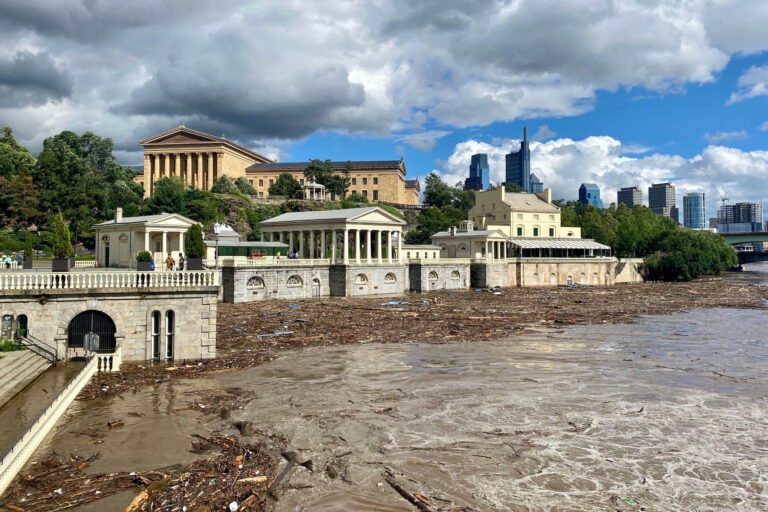 High water levels of the Schuylkill River post-Isaias