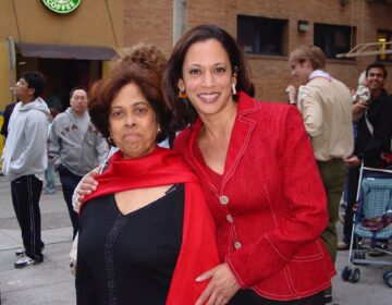This 2007 photo provided by the Kamala Harris campaign shows her with her mother, Shyamala, at a Chinese New Year parade. (Kamala Harris campaign via AP)