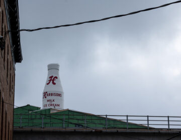 The recently renovated Harbison's Dairy bottle in Kensington. (Angela Gervasi/WHYY)