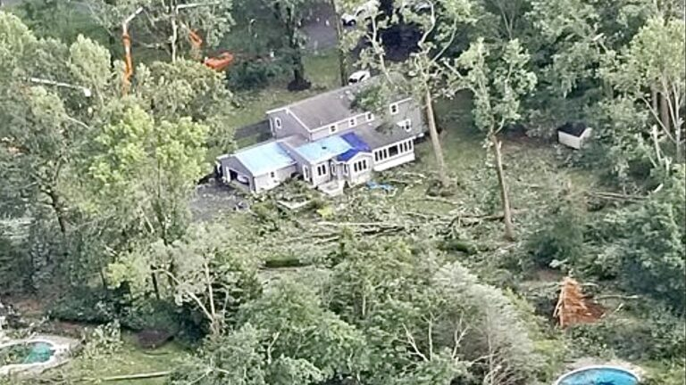 Tornado damage in the Lincroft section of Middletown Township. (NWS image)