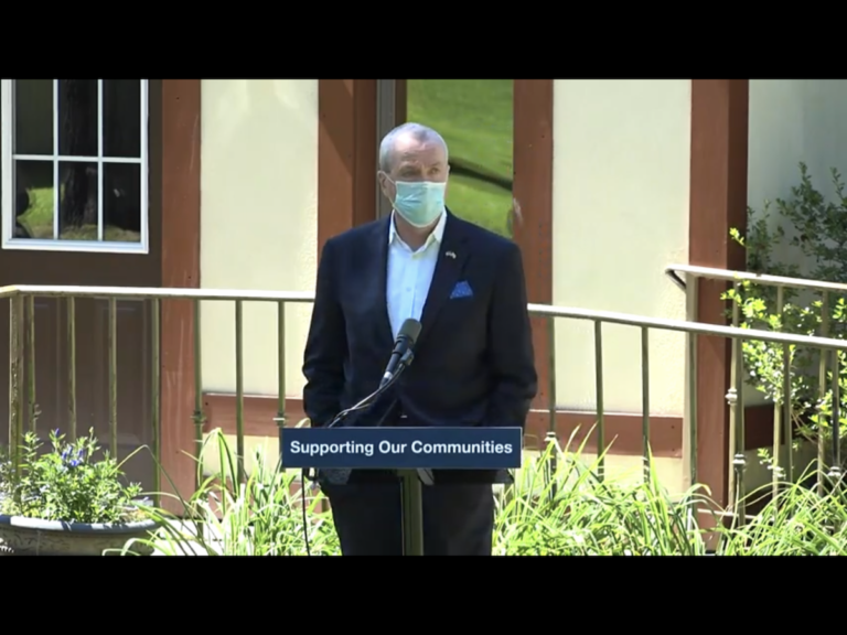 Phil Murphy speaks in Hackettstown, New Jersey about pandemic relief for counties. (Screenshot)