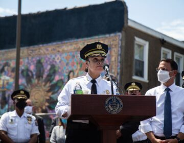 Philadelphia Police Commissioner Danielle Outlaw offered accolades to officers and officials involved in the 5th raid of the Kensington Initiative  at a press conference announcing results Monday. (Kimberly Paynter/WHYY)