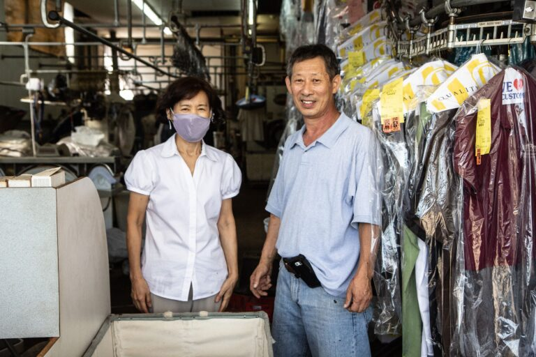 Soo and James Lee, owner of Lee's Best Dry Cleaning in Upper Darby, said they had experienced flooding like that caused by Isaias only twice in 21 years of business. (Kimberly Paynter/WHYY)