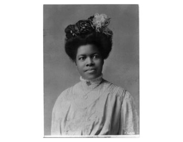 Black and white portrait photograph of Nannie Helen Burroughs