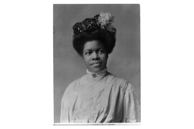 Black and white portrait photograph of Nannie Helen Burroughs