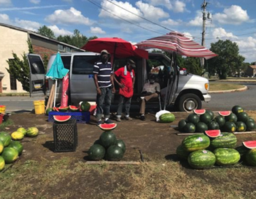 The watermelon stand is on the corner of 83rd and Lindbergh Boulevard, across from St. Paul's AME Church. (Chantale Belefanti)