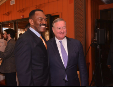 Rodney Muhammad, president of Philadelphia Chapter of the NAACP, and Mayor Jim Kenney on Election Day in 2016 at Relish.(Philadelphia Tribune File Photo)