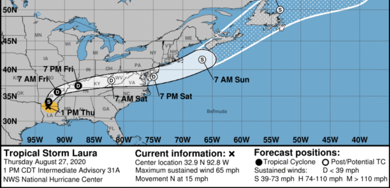 The National Hurricane Center forecast for Tropical Storm Laura, valid early Thursday afternoon. (Screenshot)