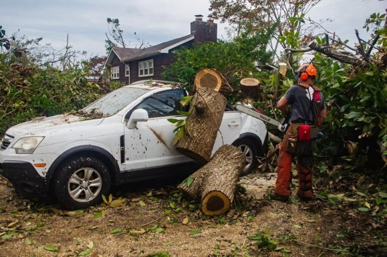 Members of Team Rubicon, a volunteer group of veterans who respond to disasters, clear out storm damage near Dover earlier this month. (Courtesy of Team Rubicon)
