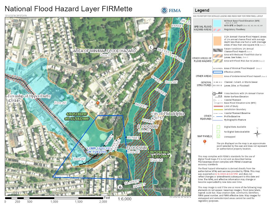 Upper Darby, Philadelphia, U.S.A. FEMA flood hazard map | image credit Federal Emergency Management Agency (FEMA)