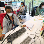 From left to right; contact tracers Christella Uwera, Dishell Freeman and Alejandra Camarillo work at Harris County Public Health Contact Tracing facility in Houston, Texas, Thursday, June 25, 2020. (David J. Phillip/AP Photo)