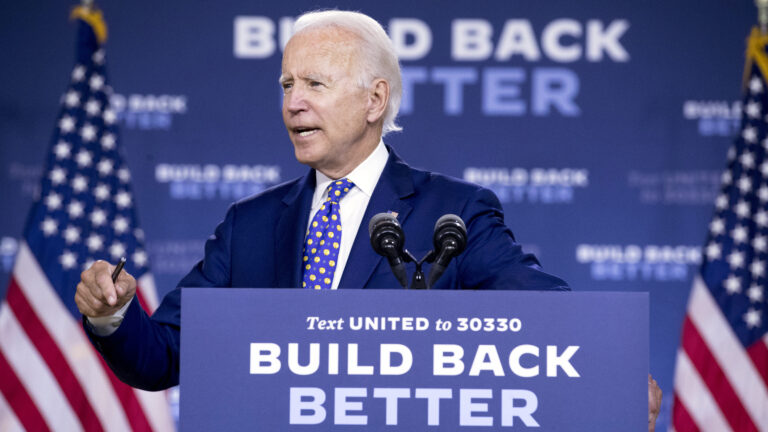 Democratic presidential candidate former Vice President Joe Biden speaks at a campaign event in Wilmington, Del., Tuesday, July 28, 2020. IAndrew Harnik/AP Photo)