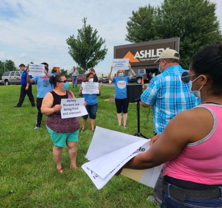 Advocates and workers protest outside of Ashley Furniture facility in Leesport, Pa. (Courtesy of Make the Road)
