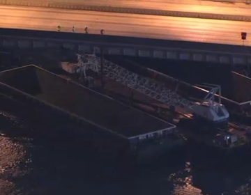 Barge struck the highway bridge over the Schuylkill River