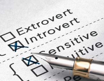 A personality test showing options for extrovert and introvert