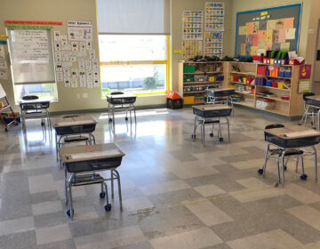 Desks are spaced out 6-feet apart in a classroom at Camden Prep, a charter school in Camden, New Jersey. (Avi Wolfman-Arent/WHYY)