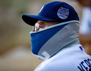 LOS ANGELES, CA - AUGUST 8, 2020: Season ticket holder David Baltazar of Long Beach wears a Dodgers neck gaiter as he sits with other fans watching the Dodgers play the San Francisco Giants from a far overlook spot because of the coronavirus pandemic in Elysian Park on August 8, 2020 in Los Angeles, CA. They are listening to the game on the radio since they are too far away to hear the sounds form the game. No fans are allowed in the stadium. (Gina Ferazzi / Los Angeles Times via Getty Images)
