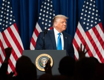 President Trump delivered lengthy remarks to delegates gathered in Charlotte, N.C., on the first day of the Republican National Convention. (Jessica Koscielniak/Pool/Getty Images)