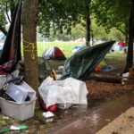 Benjamin Franklin Parkway encampment during Tropical Storm Isaia